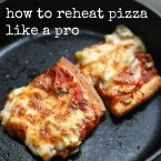 How to reheat pizza like a pro, from Cheap Recipe Blog. Crispy crust, melty cheese - it's just perfect!