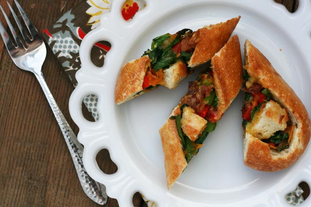 Bacon-veggie egg boats, part of the $10 Food Day from Cheap Recipe Blog