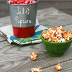 Candied Jell-O popcorn recipe. You can use any flavor of Jell-O! Repin to save.