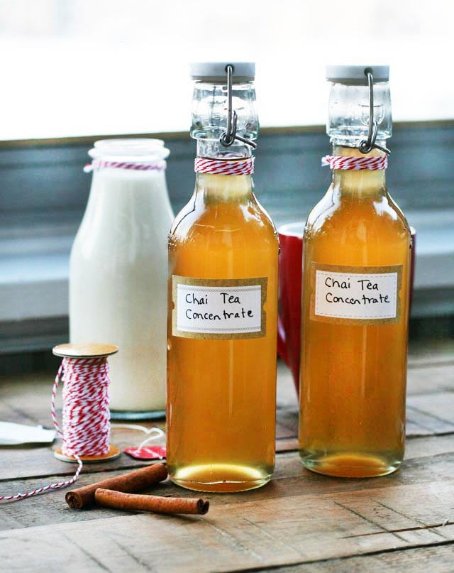 Chai Tea Concentrate makes a great gift. Make your own Chai Tea Lattes at home! Click through for recipe.