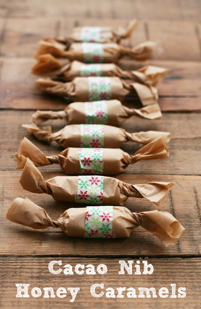 Cacao nib & honey caramels make a great gift! Repin to save.
