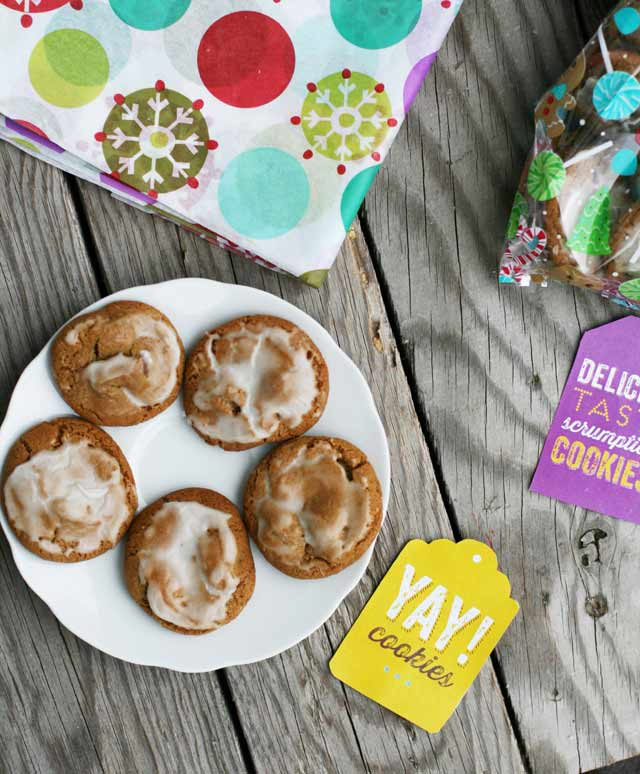 Chewy chocolate chip gingersnaps with a spiked eggnog glaze. Repin to save!