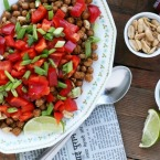 Indian-spiced chickpea and peanut salad. Repin to save!