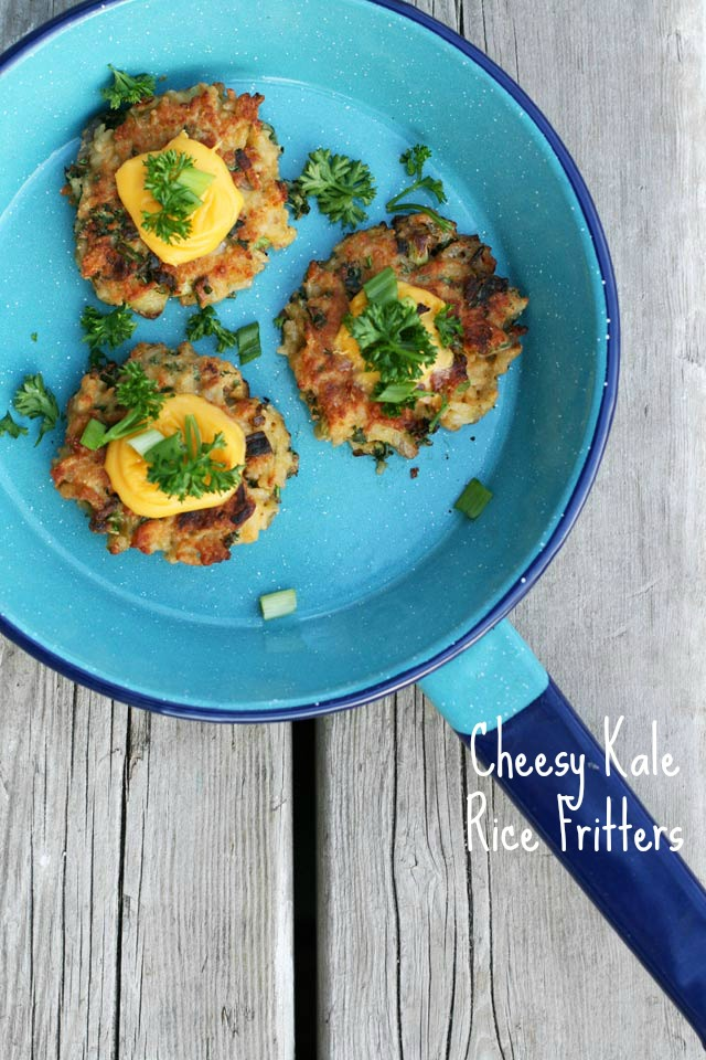 Leftover Rice Fritters With Cheese and Kale |