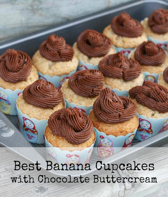 The BEST banana cupcakes with chocolate buttercream frosting. Perfection in a cupcake. Repin to save!