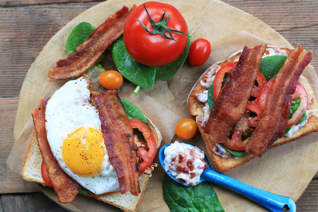 BLT sandwiches made even better with bacon mayonnaise. Yes, bacon mayo.