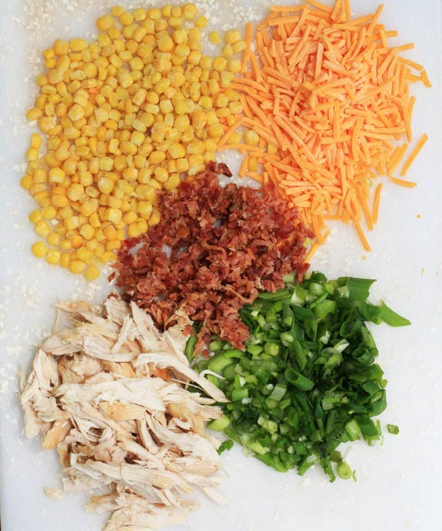 Ingredients for chipotle-lime chicken bacon past salad. This salad's got FLAVOR!