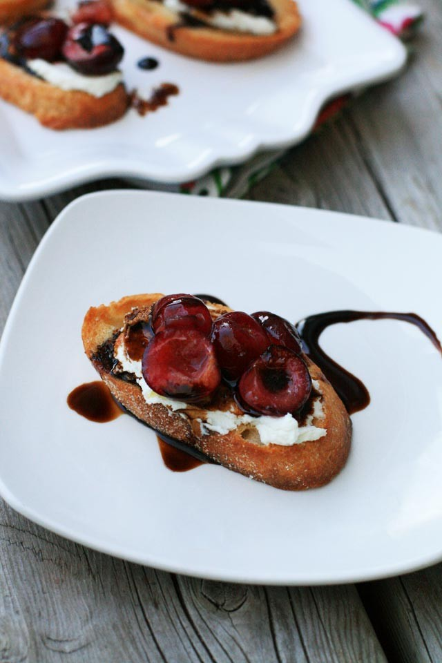 Sauteed cherry and goat cheese bruschetta. A simple appetizer that takes minutes to make!