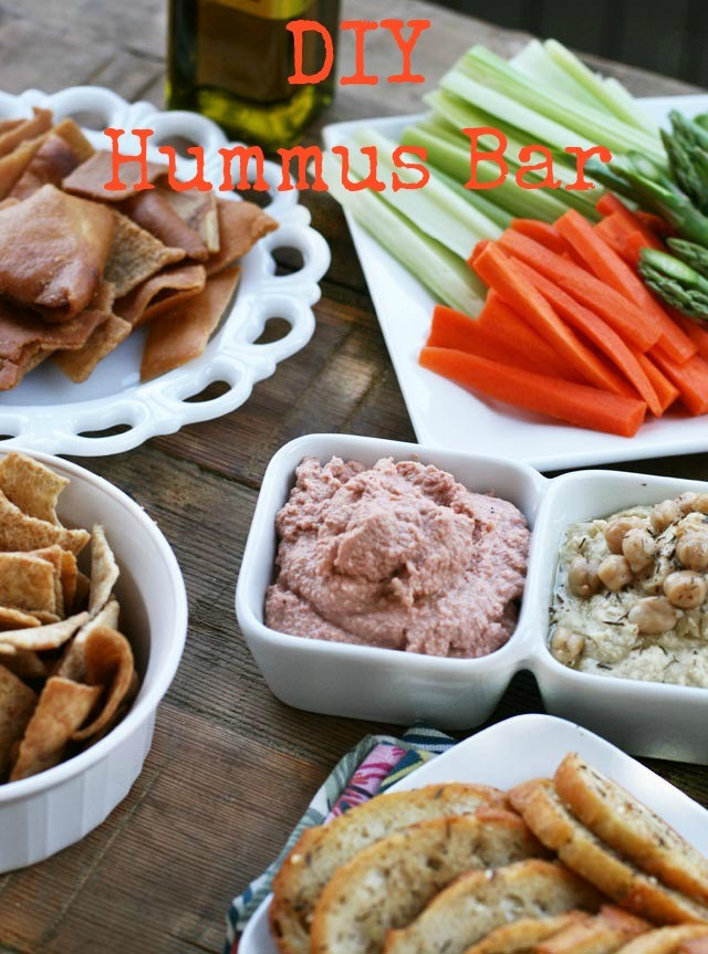 Set up a DIY Hummus Bar for a baby shower, open house, graduation, or other party.