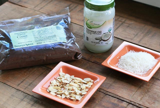 Ingredients for Paleo Freezer Chocolate (just 2 required + optional add-ins)