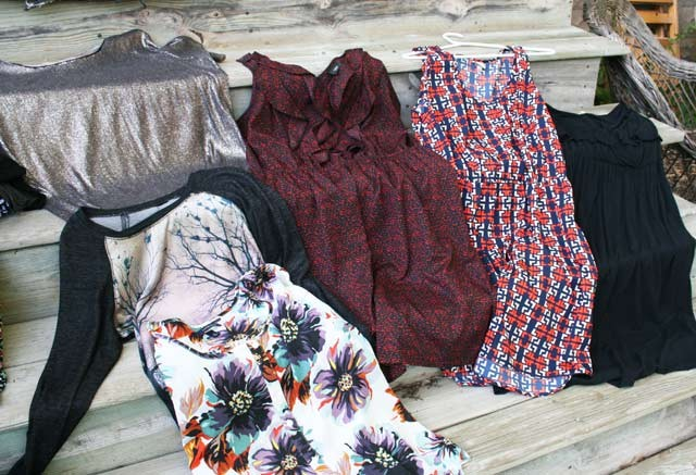 Just a fraction of the pretty, good-quality clothing I have purchased at Thrift Shops over the years.