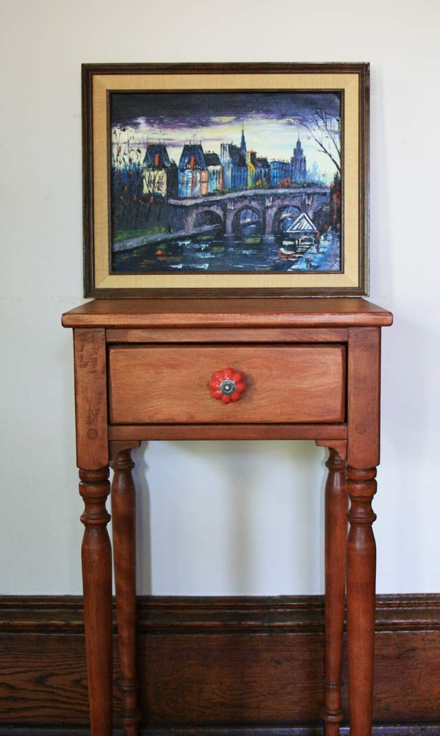 An end table that I refinished, after purchasing from a thrift shop. And a pretty painting, also found while thrifting.