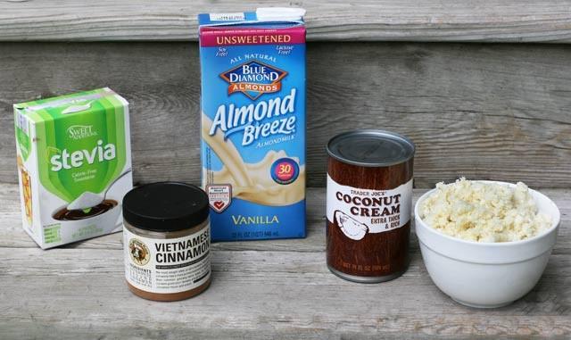 Ingredients to make Paleo Cauliflower Rice Pudding