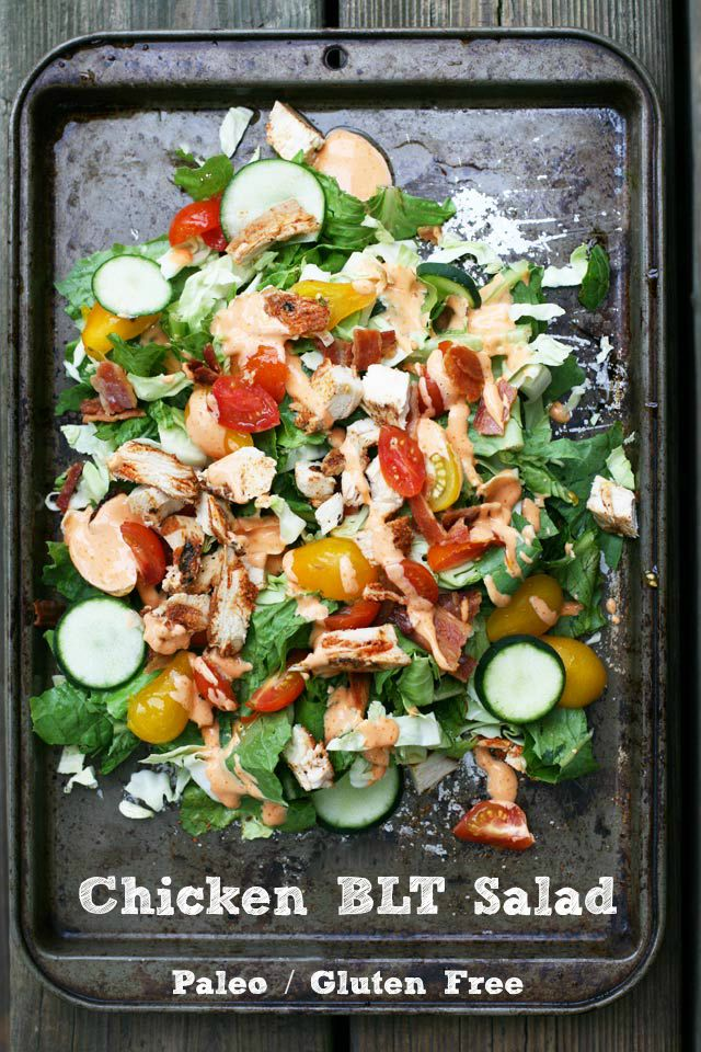 Paleo chicken BLT salad: a HEARTY Salad that will indeed fill you up.