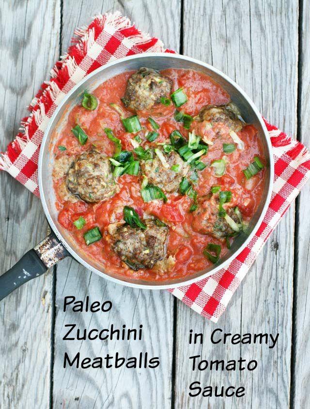 Paleo zucchini meatballs in a creamy tomato sauce. A SUPER EASY paleo recipe that's done in under 30 minutes.