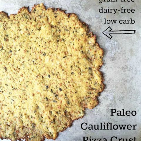 How to make Paleo cauliflower pizza crust that is grain-free, dairy-free, and low carb. Click through for instructions.