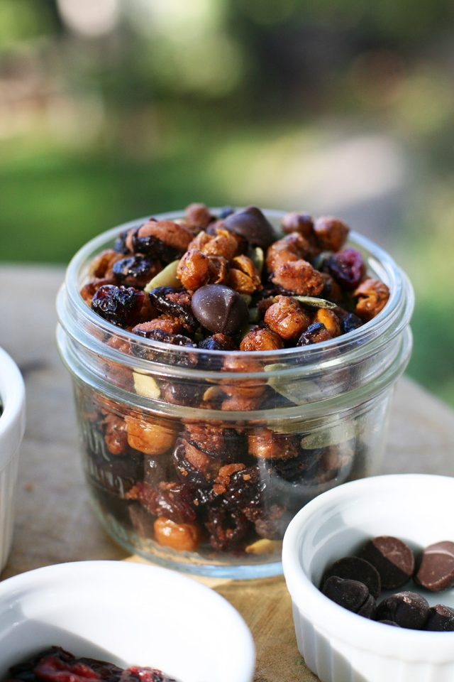 Roasted kidney bean and chickpea trail mix. A nut-free trail mix that tastes great - maybe even better than traditional trail mix!