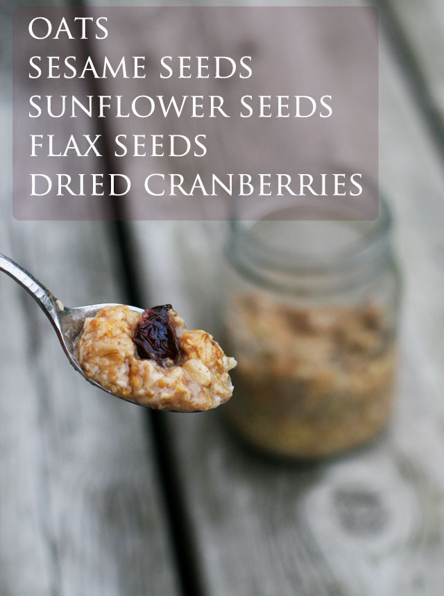 Heathy breakfast porridge, made with oats, flax, sunflower seeds, dried cranberries, and other delicious ingredients.