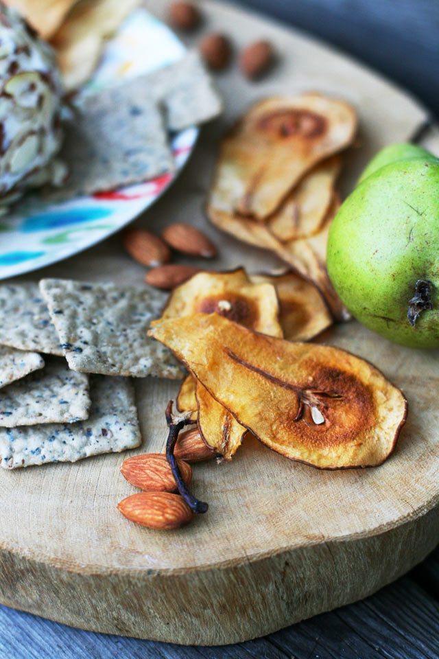 Homemade pear chips, served with a tropical cheese ball.