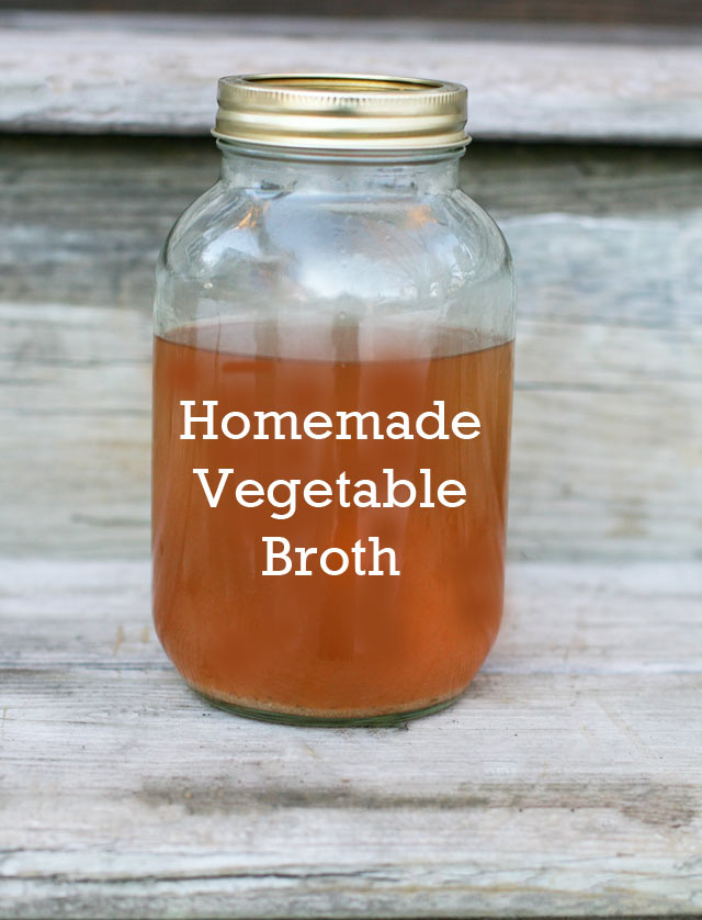 Homemade vegetable broth, made out of vegetable scraps. Don't throw those food scraps! Put them to good use.
