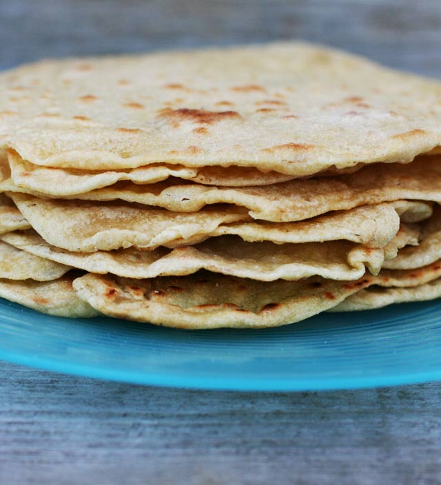 Homemade tortillas, made out of einkorn flour. These are just as good as traditional flour tortillas, but with less of a blood sugar impact!