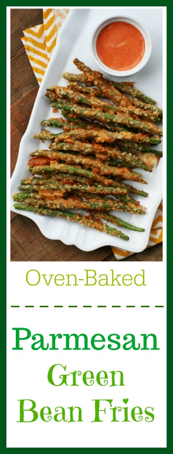 Oven-baked Parmesan green bean fries: Click through for recipe!