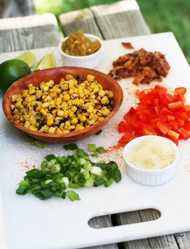 Ingredients to make Mexican street corn (elote) salad. Click through for recipe!