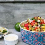 Mexican street corn (elote) salad. All the flavors of elote in salad form. Click through for recipe!