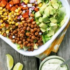 Spiced chickpea and sweet potato taco salad bowls. A hearty vegetarian main course with a creamy avocado-ranch dressing!