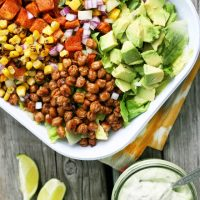 Spiced Chickpea and Sweet Potato Taco Salad Bowls