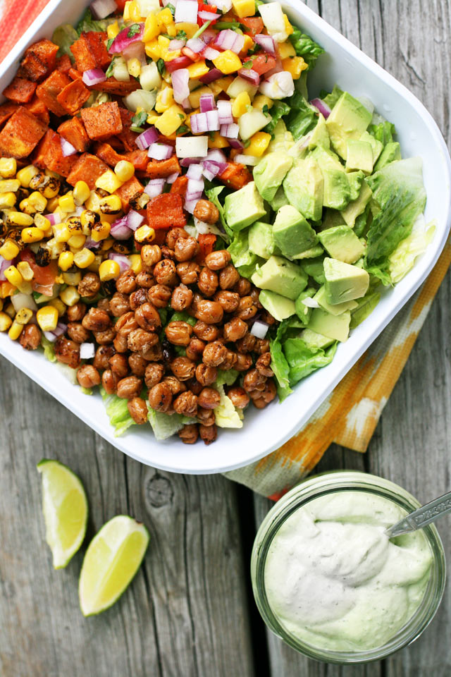 Spiced chickpea and sweet potato taco salad bowls: A hearty, healthy meal with great flavor.