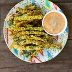 Almond-crusted turmeric green bean fries