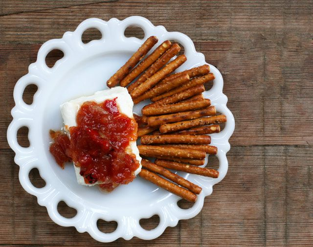30-second appetizers: Cream cheese with pepper jelly.