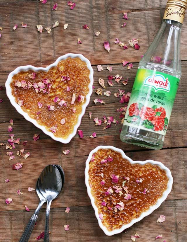 Recipe for rose creme brulee with rose water- serves two. Get the easy recipe and make it tonight!