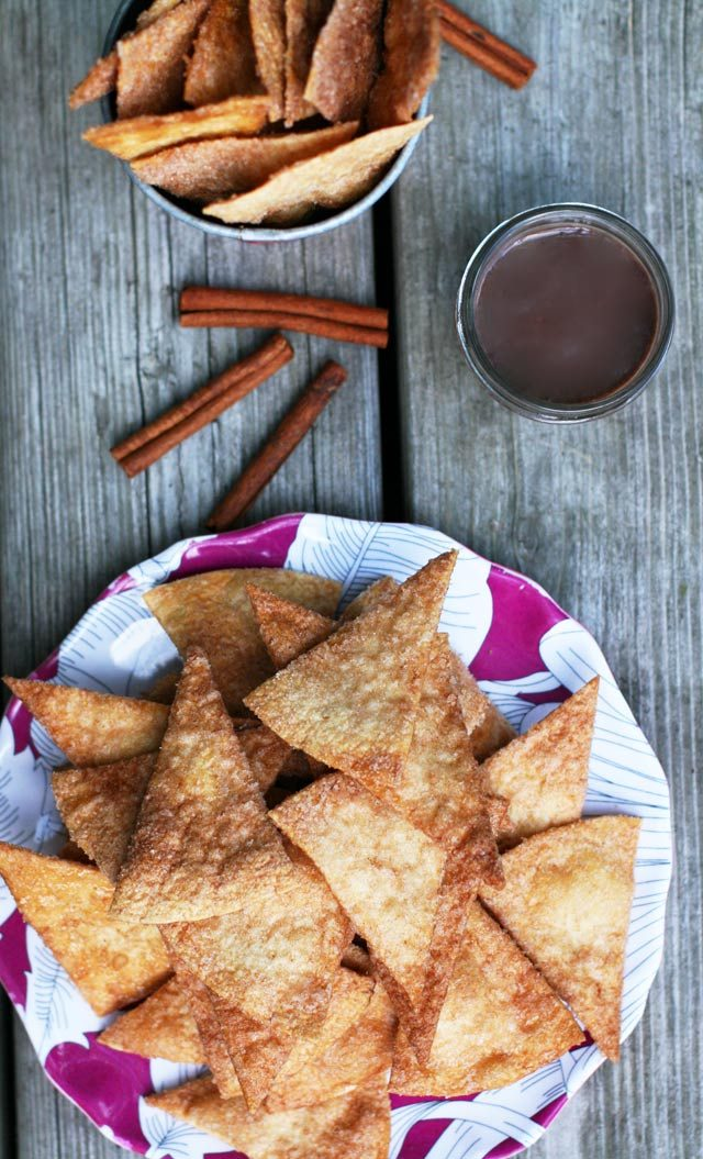 "Homemade churro chips, served with homemade chocolate sauce - like the Spanish dessert ""churros con chocolate"""