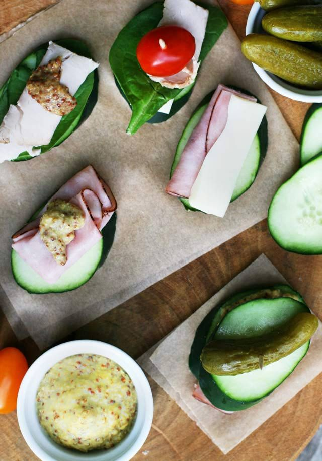 """Cucumber """"sandwiches"""" using cucumber slices instead of bread. Click through for recipe!"""
