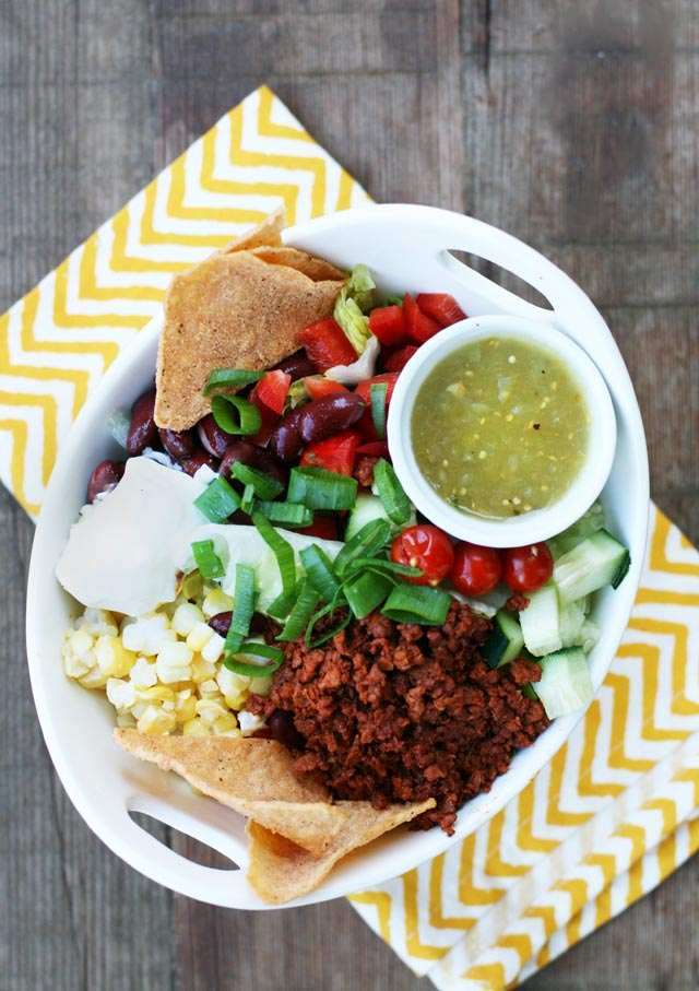 This delicious taco salad uses chorizo sausage instead of ground beef. Use what you have on hand at home to save money!