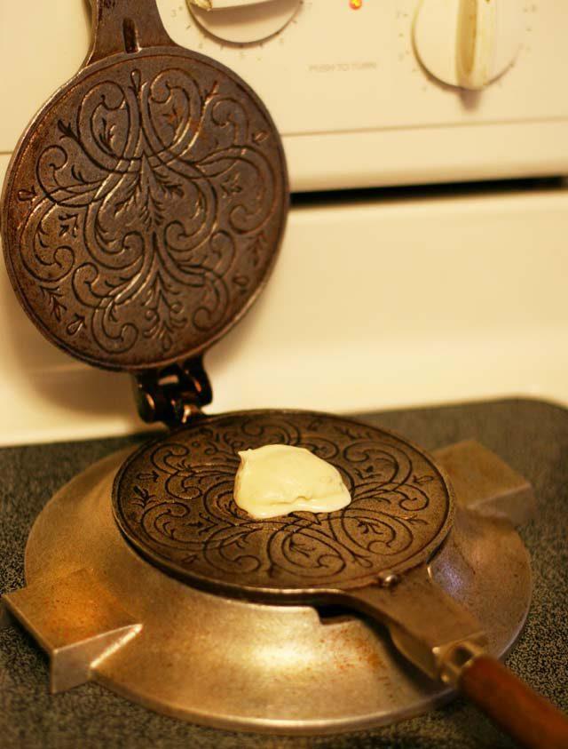 How to make Norwegian krumkake using a krumkake iron.