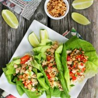 Turkey Lettuce Wraps With Peanut Sauce