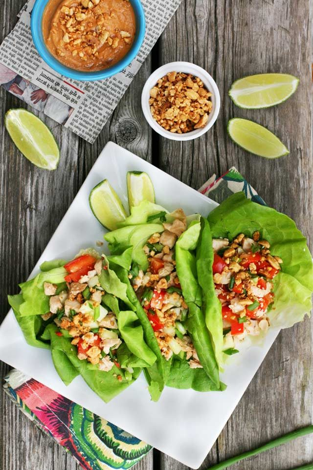 Turkey lettuce wraps, made with leftover turkey. Low-carb and paleo friendly!