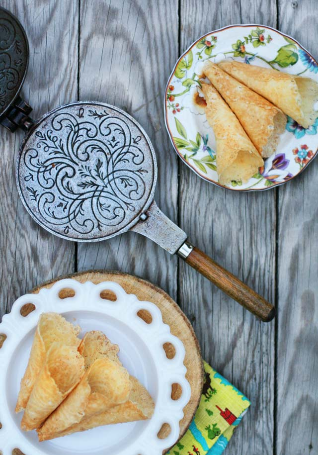 Norwegian Krumkake recipe: A traditional recipe made on a krumkake iron. Click through for instructions.
