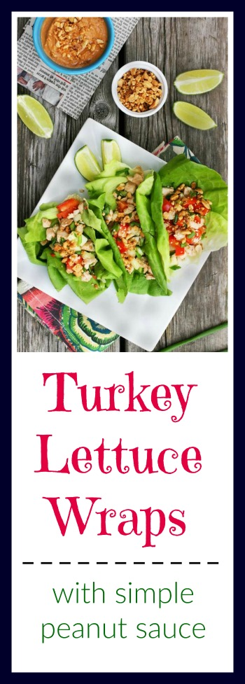 Turkey lettuce wraps with a simple peanut sauce: Click through for recipe!