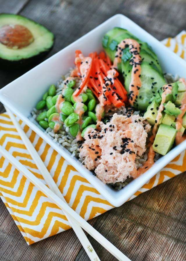Spicy tuna sushi bowls. Get your sushi fix for less!