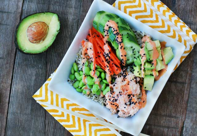 Spicy tuna sushi bowls (fully cooked!) - A DIY, cheap version of a poke bowl.