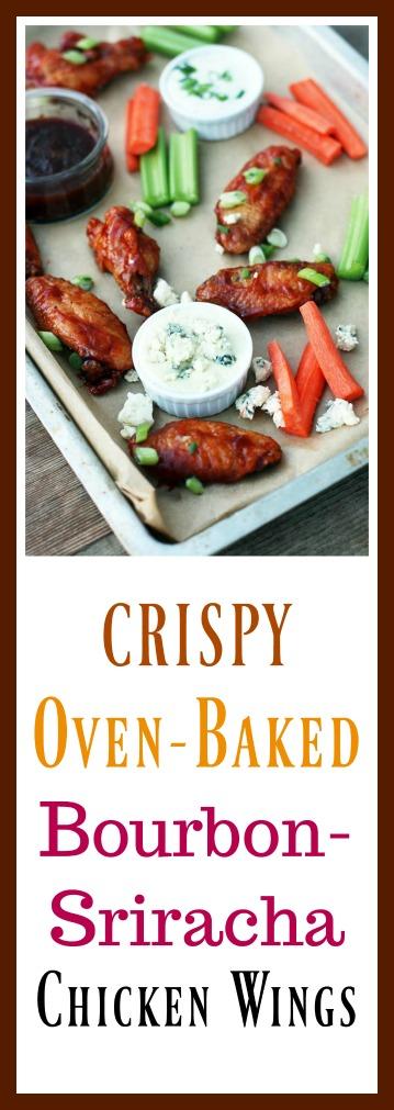 Crispy, oven-baked bourbon-sriracha chicken wings. Click through for recipe!