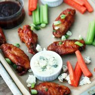 Bourbon-sriracha wings: Made crispy in the OVEN! Click through for recipe.