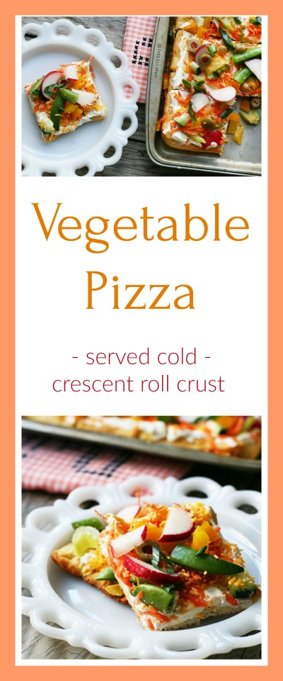 Vegetable pizza recipe: Super easy, served cold. Click through for recipe!