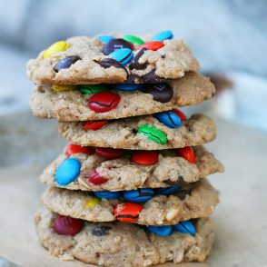 EPIC monster cookies. They are LOADED with M&Ms. Click through for recipe!