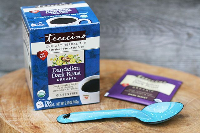 Teecino: A coffee alternative that is brewed like tea. Caffeine free, made with chicory.