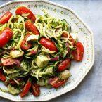 Zucchini pasta salad with basil and mozzarella. Click through for recipe!